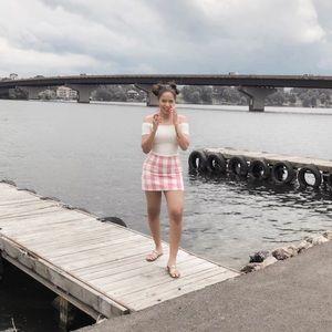 Pink Plaid Mini Skirt